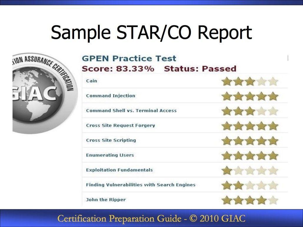 Resultado obtenido en un examen de certificación GIAC de prueba